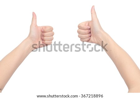 Thumb up on white background
