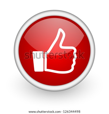 thumb up red circle web icon on white background