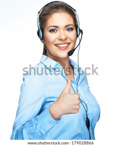 Thumb up smiling woman operator. Head set with microphone. White background isolated. - stock photo