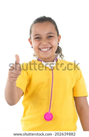 Thumb Up Young Girl Doctor with A Toy Stethoscope Isolated on White Background - stock photo