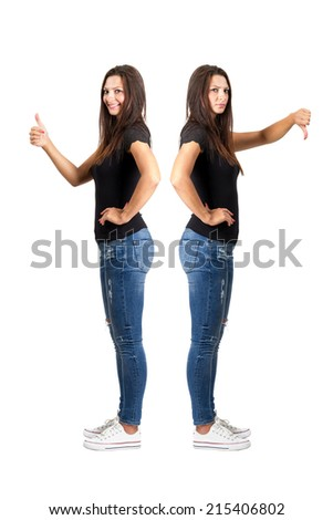 Thumbs up and thumbs down contrast. Full body length isolated over white.