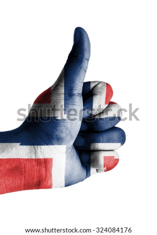 Thumbs up digitally compositing on with Norway flag - stock photo