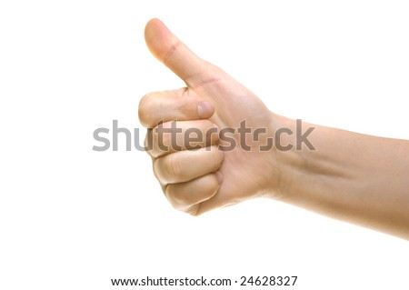 Thumbs up - gestures. Thumb isolated on white background with clipping path.