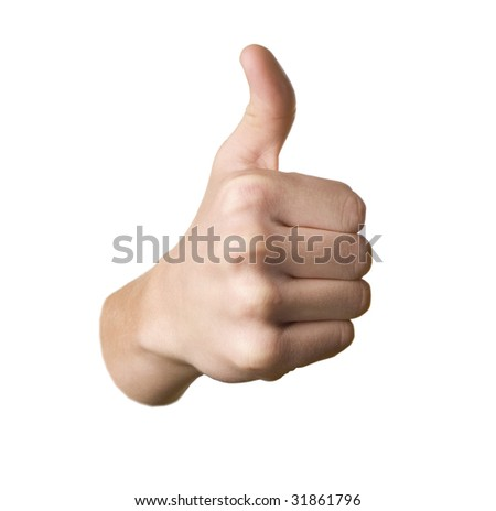 Thumbs up hand on white background - stock photo