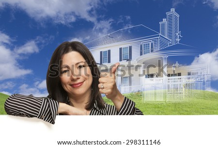 Thumbs Up Hispanic Woman with Ghosted House Drawing, Partial Photo and Rolling Green Hills Behind.