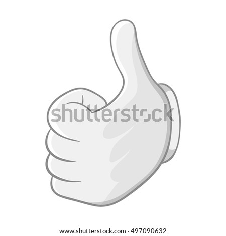 Thumbs up icon in black monochrome style isolated on white background. Gesture symbol  illustration