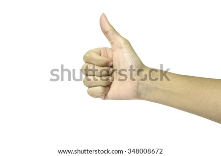 thumbs up in isolated shot - stock photo