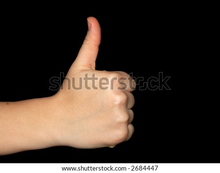 Thumbs up isolated over a black background, clipping-path included, just copy and paste into your work!