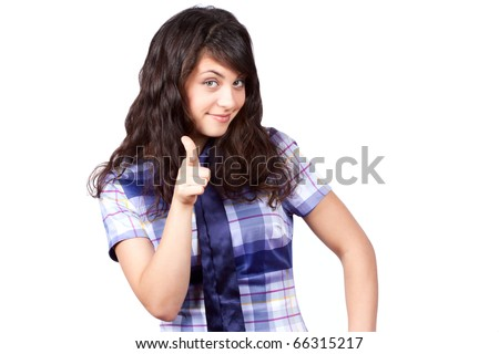 thumbs up of beautiful woman, on white background - stock photo