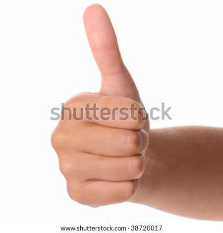 Thumbs up on a pure white background.