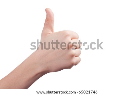 thumbs up  on white background - stock photo