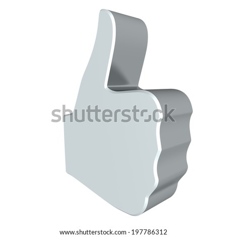 Thumbs up sign - grey . 3d render. White background.  - stock photo