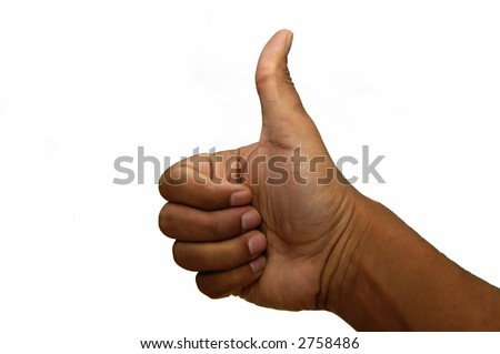 Thumbs up sign iso;lated against a white background