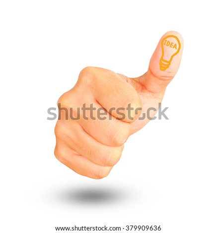 Thumbs Up sign with lamp sign on thumb on white background, Idea concept. - stock photo
