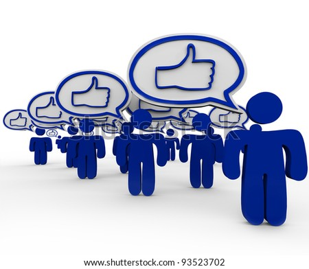 Thumbs Up symbols in many speech bubbles expressed by several people in consensus of like or liking something, giving approval and expressing satisfaction