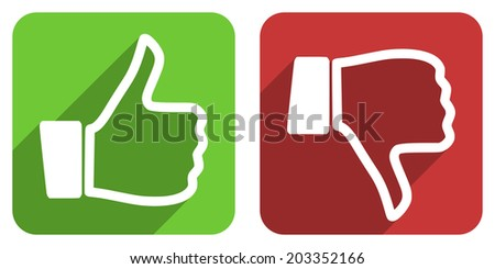 thumbs up, thumbs down flat icons - stock photo