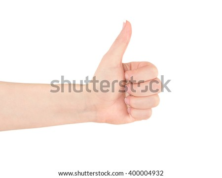 Thumbs up woman hand isolated on white - stock photo