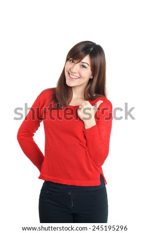 Thumbs up woman in red on white background
