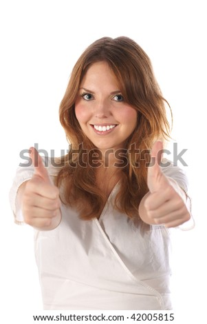 Thumbs up. Young female (on white background) - stock photo