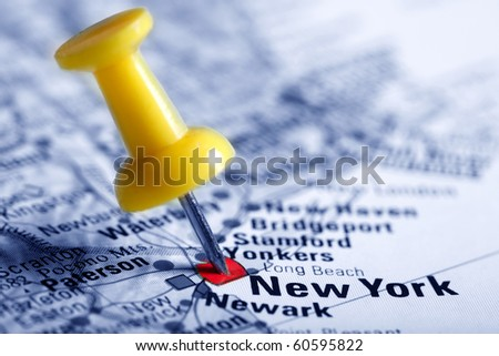 Thumbtack in a  Map with a Selective Focus with a Selective Focus - stock photo
