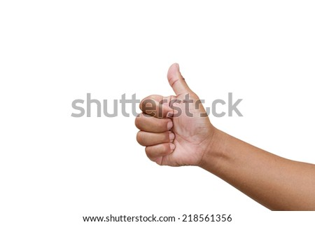Thump up hand sign isolated on white