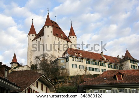 Thun Castle, which is built in 1190, on city top of Thun, Canton Berne, Switzerland  - stock photo