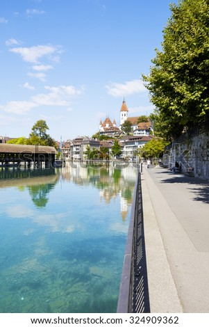 THUN, SWITZERLAND - SEPTEMBER 08, 2015: View towards the old town. Thun with a population of approx. 45,000 citizens it is a city located in the canton of Bern, situated on the River Aare