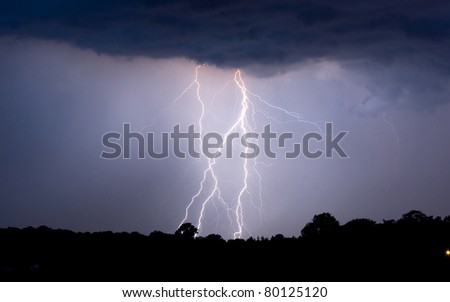 Thunder and lightning at the end of a warm day in the Netherlands - stock photo
