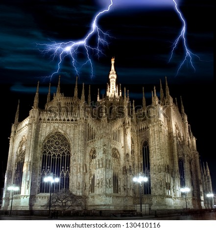 Thunder lightning above the Dome of Milan - stock photo