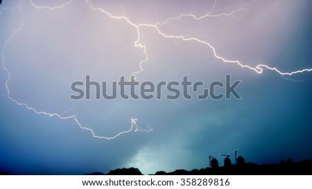 Thunder lights in Islamabad - stock photo