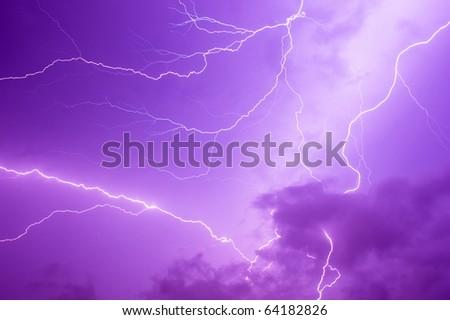 Thunder storm and power Lightning over sky . - stock photo