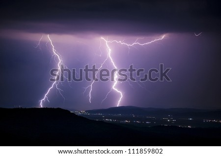 thunder storm with lightning at night - stock photo