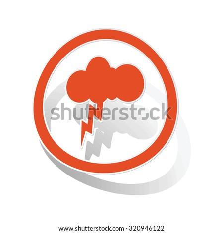 Thunderbolt sign sticker, orange circle with image inside, on white background - stock photo