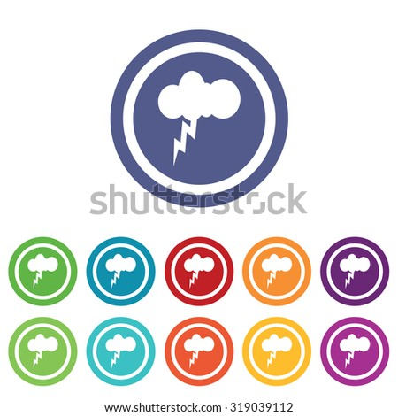 Thunderbolt signs set, on colored circles, isolated on white - stock photo