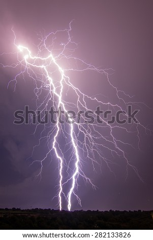 thunderbolts and lightnings in the night - stock photo