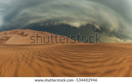 Thunderclouds in the desert during a storm