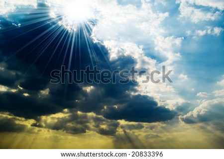 Thunderclouds on blue sky - stock photo