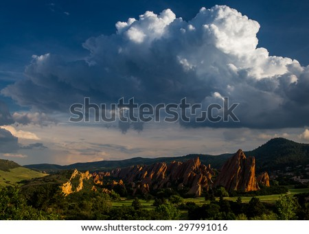 Thundering Cumulus Over Roxborough Fountain Formation - stock photo