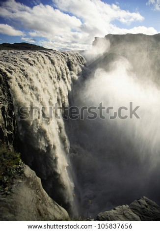 Thundering Dettifoss waterfall Iceland - stock photo