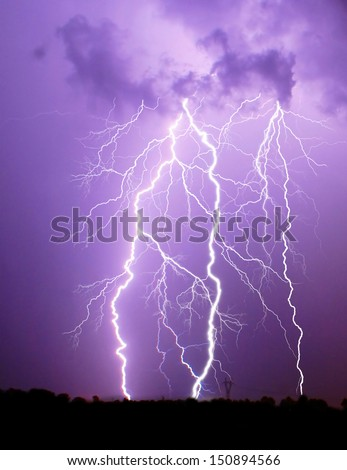 Thunderstorm over fields in Poland - stock photo