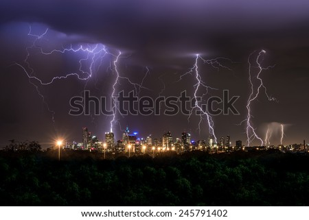 Thunderstorm over Melbourne City showing multiple lightning strikes