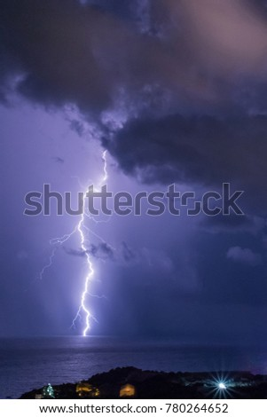 Thunderstorm over the Black Sea. Southern coast of the Crimea.
