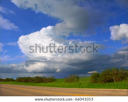 Thunderstorm sweeps across the landscape of northern Illinois - stock photo