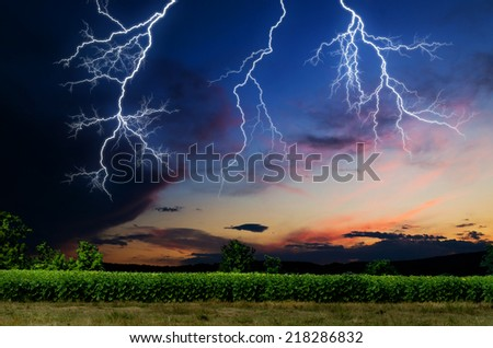 Thunderstorm with lightning.