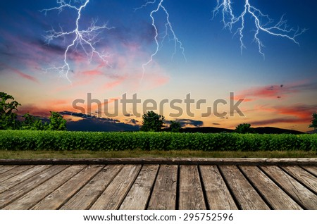 Thunderstorm with lightning. - stock photo