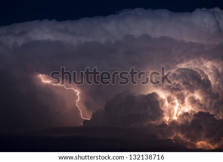 Thunderstorm with lightning over Bern, Switzerland, Europe - stock photo