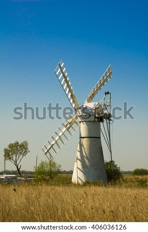 Thurne Pump drainage mill on the Norfolk Broads - stock photo