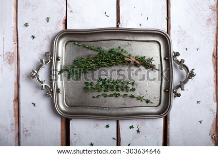 thyme herbs on a tray