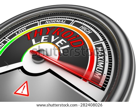 Thyroid level conceptual meter indicate maximum, isolated on white background - stock photo