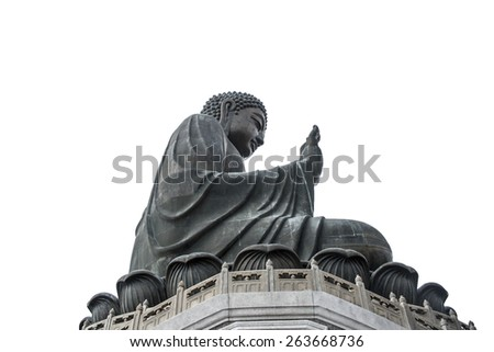Tian Tan Buddha is a large bronze statue of a Buddha, completed in 1993, high 34 meter, weight 250 ton and located at Po Lin monastery, Ngong Ping, Lantau Island, in Hong Kong, isolated - stock photo